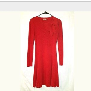 Eliza J Red Bow Knit Sheath Fit Flare Sweater Dres